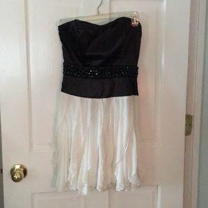 Strapless black and white jeweled dress